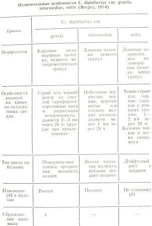Таблица 1. Отличительные особенности С. diphtheriae var. gravis, intermedius, mitis (Bergey, 1974)