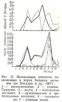 Рис 12 Межвидовые контакты позвоночных в норах больших песчанок по Бондарю и др. 1967): 1 — насекомоядные; 2 — хищные. Грызуны: 3 — всего; 4 — полуденные песчанки; 5- краснохвостые и гребенчуковые песчанки; 6 — тушканчики; 7-домовые мыши