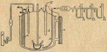 Схема оборудования реактора для розлива. Условные обозначения: А — сифон для розлива; а — сифоны для отбору проб и подзчисолей ; б — короткие сифоны; в — стационарный воздушный фильтр; г — ватный фнльтр; д — контактный термометр ,в гильзе; е — якорная мешалка; ж — дополнительная мешалка; з — маркизетовый фильтр; и,к — гребенка с сосочками и подключенными бюретками; л — люк; ж — электроводяной обогреватель