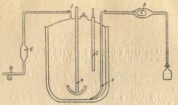 Схема оборудования реактора для варки казеиновоо-угольного агара. Условные обозначения: а — якорная мешалка; б — фильтр для розлиза; в - ватный фильтр для воздуха; г — термометр; д — сифон для подачи воздуха; е — сифон для розлива.