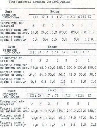 Таблица 11. Интенсивность питания степной гадюки