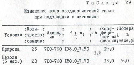 Таблица 29. Изменение веса среднеазиатской гюрзы при содержании в питомнике