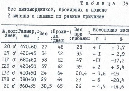Таблица 39. Вес щитомордников, проживших в неволе